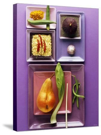 Interesting Combination of Foods on Plates-Luzia Ellert-Stretched Canvas Print