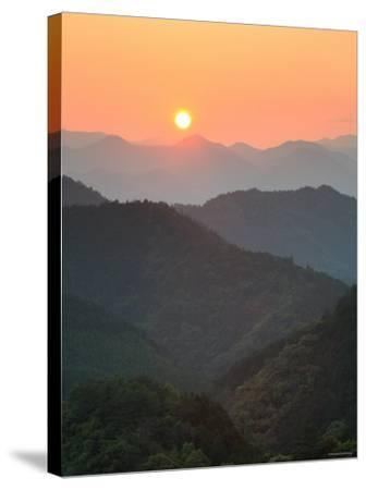 Sunset Beyond Mountains--Stretched Canvas Print