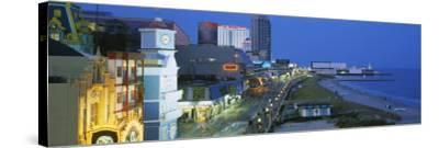 City Street Lit Up at Night, Atlantic City, New Jersey, USA--Stretched Canvas Print