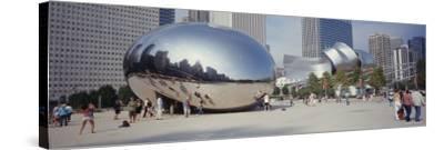 People in a Park, Cloud Gate, Millennium Park, Chicago, Illinois, USA--Stretched Canvas Print
