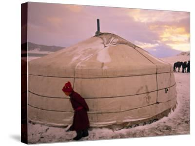 Yurts, Mongolia-Peter Adams-Stretched Canvas Print