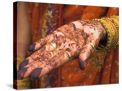 Wedding Guest Showing Henna Marking on Her Hand, Dubai, United Arab Emirates-Jane Sweeney-Stretched Canvas Print