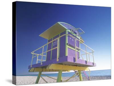 Lifeguard Station at Miami Beach, Miami, USA-Peter Adams-Stretched Canvas Print