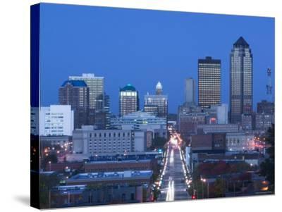 Skyline of Des Moines, Iowa, USA-Walter Bibikow-Stretched Canvas Print