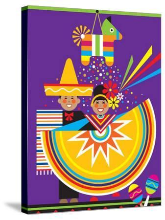 Traditional Mexican Cultural Celebration with Pinata--Stretched Canvas Print