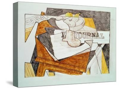 Still Life with a Newspaper and a Wooden Table, c.1918-Juan Gris-Stretched Canvas Print