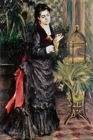 Woman with Bird-Pierre-Auguste Renoir-Stretched Canvas Print