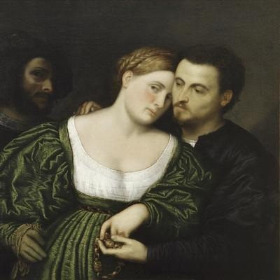 The Venetian Lovers-Paris Bordone-Stretched Canvas Print