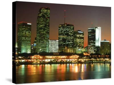City Skyline at Night, Miami, FL-Jeff Greenberg-Stretched Canvas Print