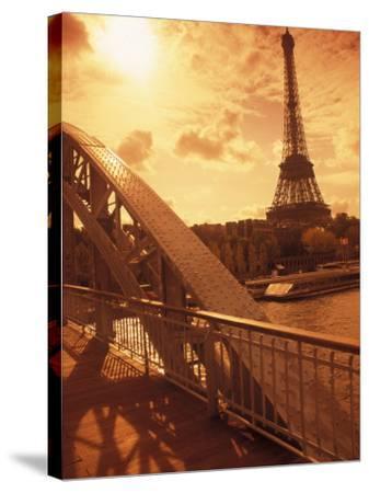 France, Paris, Eiffel and Passerelle-Silvestre Machado-Stretched Canvas Print