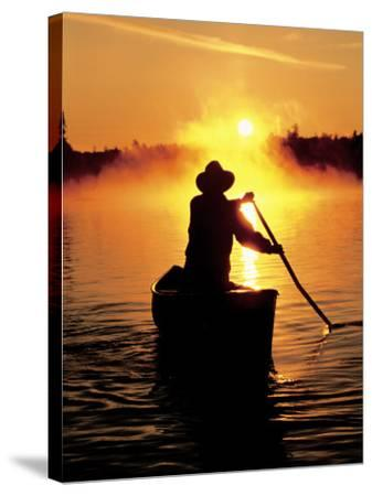 Sunrise Canoeing, Boundary Waters Canoe Area, MN-Amy And Chuck Wiley/wales-Stretched Canvas Print