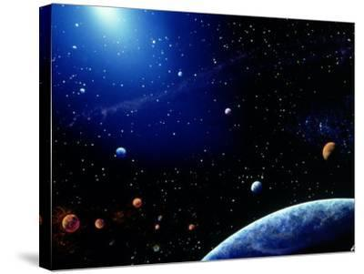 Earth and Star Field-Ron Russell-Stretched Canvas Print