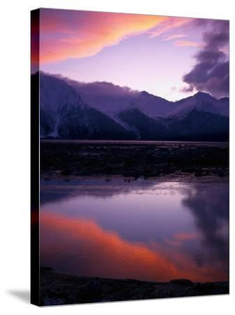 Sunset on Turnagain Arm, South Central Alaska-Hal Gage-Stretched Canvas Print