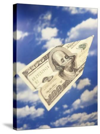 Paper Plane Made from Hundred Dollar Bill-Terry Why-Stretched Canvas Print