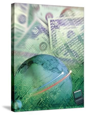 Globe with Money, Bills and Circuit Board-Guy Crittenden-Stretched Canvas Print