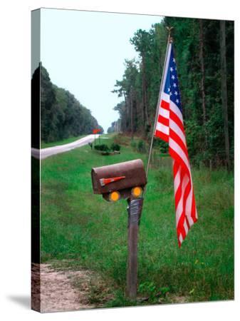 American Flag on Rural Mailbox, North Florida-Pat Canova-Stretched Canvas Print