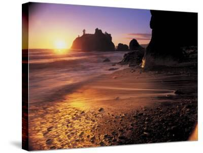 Ruby Beach at Sunset-Peter Adams-Stretched Canvas Print