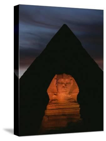 Equinox Sunset at the Sphinx, with Menkaures Pyramid in Background-Kenneth Garrett-Stretched Canvas Print