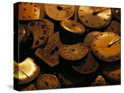 A Still Life of Old Watch Faces-Joel Sartore-Stretched Canvas Print