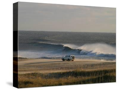 Wind, Waves and Fisherman in an Suv on a Beach in the Outer Banks-Skip Brown-Stretched Canvas Print
