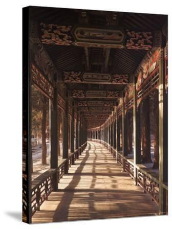 Covered Walkway at Summer Palace in Beijing, China-Dmitri Kessel-Stretched Canvas Print