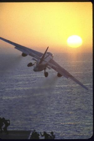 Jet Plane, A4D Skyhawk, Taking Off From USS Independence at Sunrise over Mediterranean Sea-John Dominis-Stretched Canvas Print