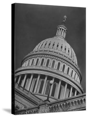 Exterior View of the Dome of the Us Capitol Building-Margaret Bourke-White-Stretched Canvas Print