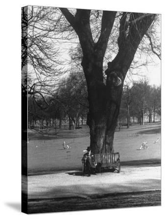 Man Sitting on a Bench and Reading a Newspaper in the Park-Cornell Capa-Stretched Canvas Print