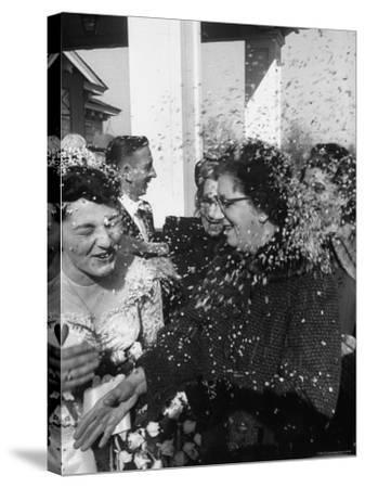Confetti Shower After Italian American Wedding-Ralph Morse-Stretched Canvas Print