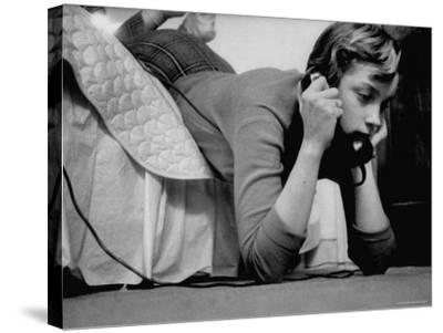 Ginny Nyvall Talking on the Phone-Grey Villet-Stretched Canvas Print