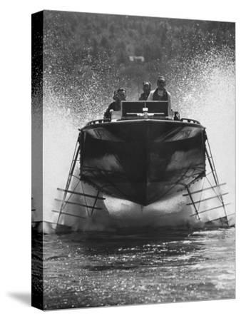 Canadian Navy Hydrofoil Boat, on the Test Run-Peter Stackpole-Stretched Canvas Print