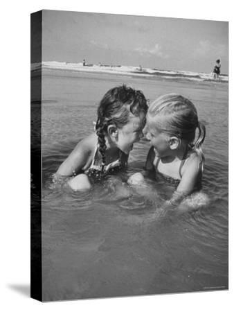 Little Girls Playing Together on a Beach-Lisa Larsen-Stretched Canvas Print