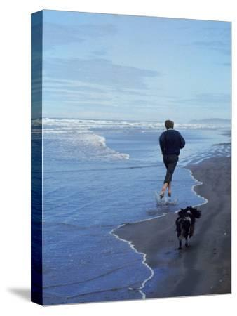 Presidential Candidate Bobby Kennedy and His Dog, Freckles, Running on an Oregon Beach-Bill Eppridge-Stretched Canvas Print