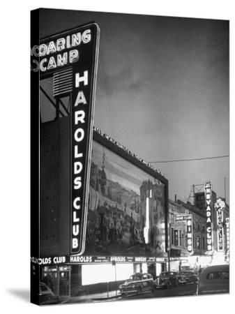 The Harolds Gambling Casino Lighting Up Like a Candle-J^ R^ Eyerman-Stretched Canvas Print