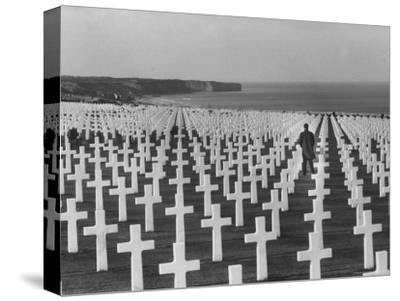 US Army Cemetery at Omaha Beach-Leonard Mccombe-Stretched Canvas Print