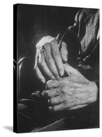 Shot of Hands Belonging to an Old Man-Carl Mydans-Stretched Canvas Print