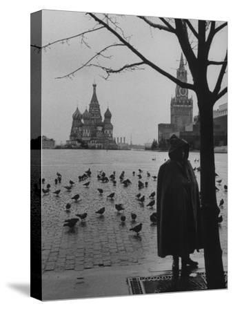 View Across Red Square of St. Basil's Cathedral and the Kremlin-Howard Sochurek-Stretched Canvas Print