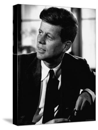 Senator John F. Kennedy, Posing For Picture-Hank Walker-Stretched Canvas Print