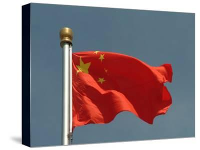 The Chinese National Flag Waves Above Tiananmen Square-Richard Nowitz-Stretched Canvas Print