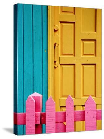 Painted Door and Fence, Downtown, French Side, Marigot, St. Martin-Richard Cummins-Stretched Canvas Print