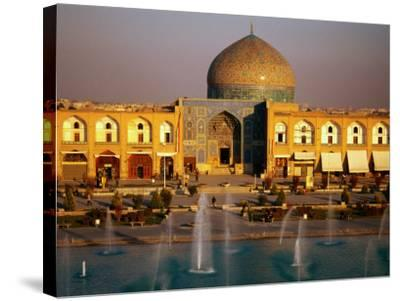 Overhead of Fountains Outside Sheikh Lotfollah Mosque, Emam Khomeini Square, Esfahan, Iran-Mark Daffey-Stretched Canvas Print