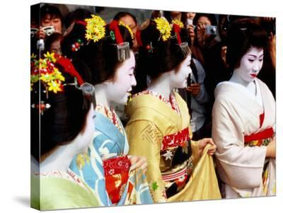 Geisha and Maiko at Memorial for Poet Yoshii Isamu in Gion, Japan-Frank Carter-Stretched Canvas Print
