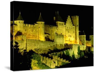 """Chateau Comtal and Medieval Walled City at Night Above """"New Town"""", Carcassonne, France-Dallas Stribley-Stretched Canvas Print"""
