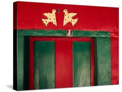 Detail of Painted House Facade, La Venta Del Sur, Honduras-Jeffrey Becom-Stretched Canvas Print