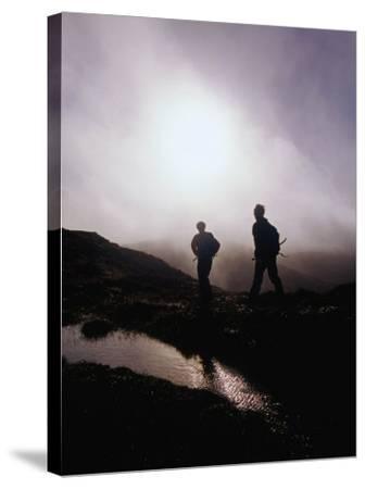 Walkers in Mist on Diamond Hill in Connemara National Park, Connemara, Ireland-Gareth McCormack-Stretched Canvas Print