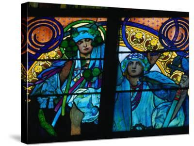 Stained-Glass Windows with Art Nouveau Mucha Designs in St. Vitus Cathedral, Prague, Czech Republic-Richard Nebesky-Stretched Canvas Print
