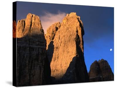 Moon Above Tre Cimo Di Lavaredo at Dawn, Dolomiti Di Sesto Natural Park, Trentino-Alto-Adige, Italy-Grant Dixon-Stretched Canvas Print