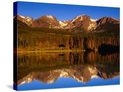Sprague Lake Provides a Near-Perfect Mirror for the Surrounding Mountains, Colorado, USA-Gareth McCormack-Stretched Canvas Print