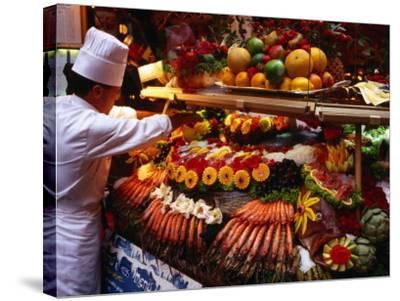 Chef Creating Restaurant Display, Brussels, Belgium-Rick Gerharter-Stretched Canvas Print