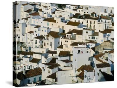 Whitewashed Village Houses of Casares, Clinging to Steep Hillsides, Malaga, Andalucia, Spain-David Tomlinson-Stretched Canvas Print